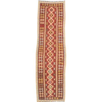Hereke Kilim Hand-Woven Red/Beige Area Rug