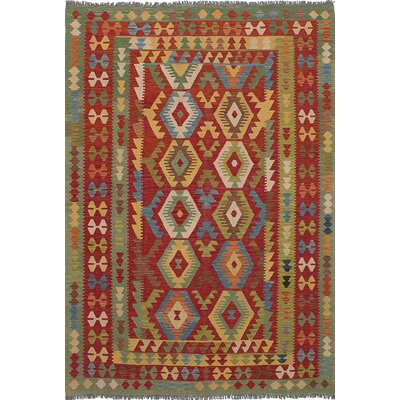 Olmsted Hand-Woven Green/Red Area Rug
