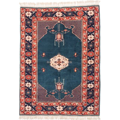One-of-a-Kind Biddlesden Hand-Knotted Red/Blue Area Rug