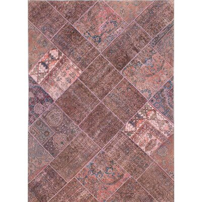 One-of-a-Kind Persian Vogue Patch Hand-Knotted Brown Area Rug