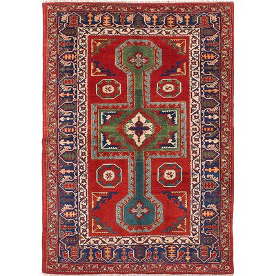 One-of-a-Kind Antique Shiravan Hand-Knotted Red Area Rug