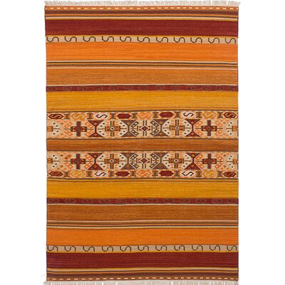 Ankara Kilim Hand-Woven DRed/Orange Area Rug