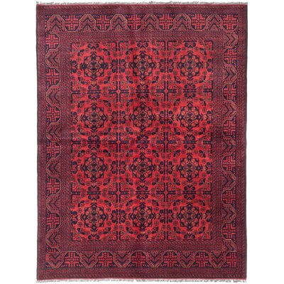 Rosales Traditional Hand-Knotted Red Area Rug