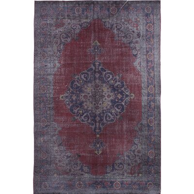 Hand-Knotted Red/Grey Area Rug