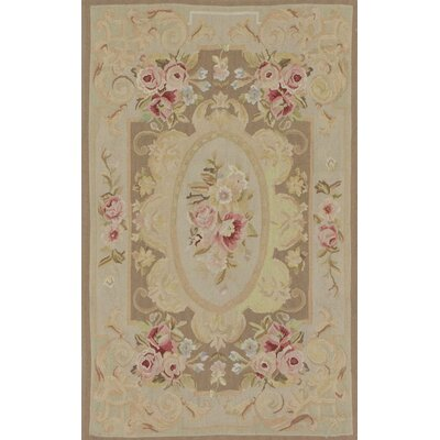 French Tapestry Sumak Hand-Knotted Beige Area Rug