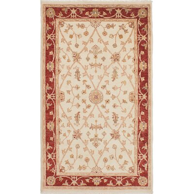 One-of-a-Kind Barrows Hand-Knotted Cream Area Rug