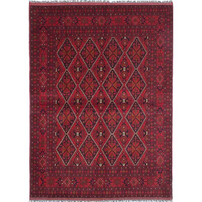 Bridges Traditional Hand-Knotted Wool Dark Burgundy Area Rug