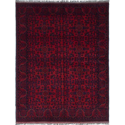 Bourkel Hand-Knotted Dark Burgundy Area Rug