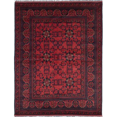 One-of-a-Kind Bridges Hand-Knotted Oriental Dark Burgundy Area Rug