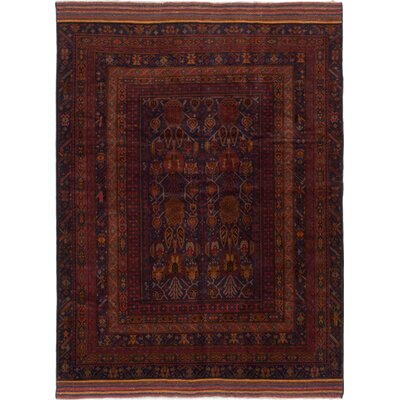 Mouri Hand-Knotted Dark Red/Navy Blue Area Rug