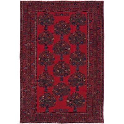 One-of-a-Kind Rizbaft Hand-Knotted Dark Burgundy Area Rug