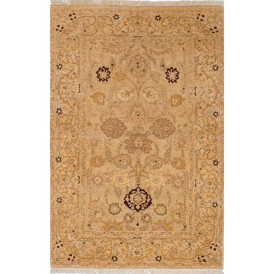 One-of-a-Kind Peshawar Oushak Hand-Knotted Light Khaki Area Rug
