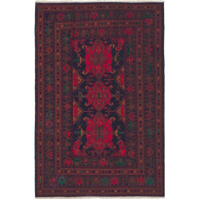 Rizbaft Hand-Knotted Dark Burgundy/Dark Navy Area Rug