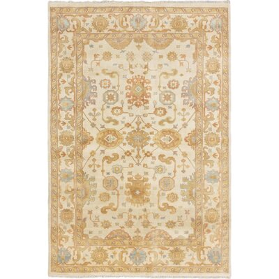 One-of-a-Kind Royal Ushak Hand-Knotted Cream Area Rug