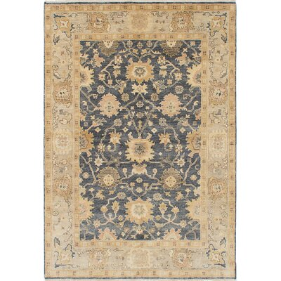 Royal Ushak Hand-Knotted Navy/Beige Area Rug