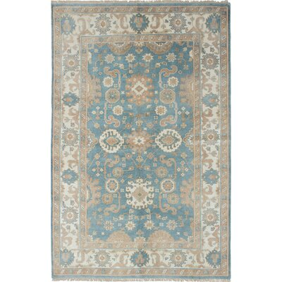 One-of-a-Kind Royal Ushak Hand-Knotted Ivory/Slate Blue Area Rug