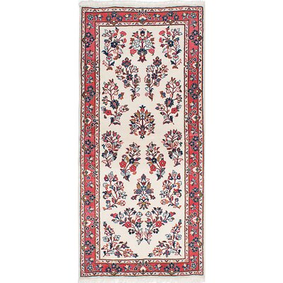 One-of-a-Kind Boothe Hand-Knotted Cream/Red Area Rug