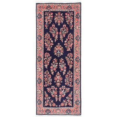 One-of-a-Kind Sarough Hand-Knotted Dark Navy/Red Area Rug