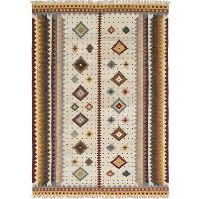 Wendt Kilim Hand Woven Cream Area Rug
