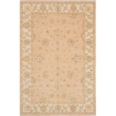 Chobi Twisted Wool Hand-Knotted Ivory Area Rug
