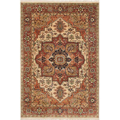 Jules-Sultane Wool Hand-Knotted Cream/Dark Copper Area Rug