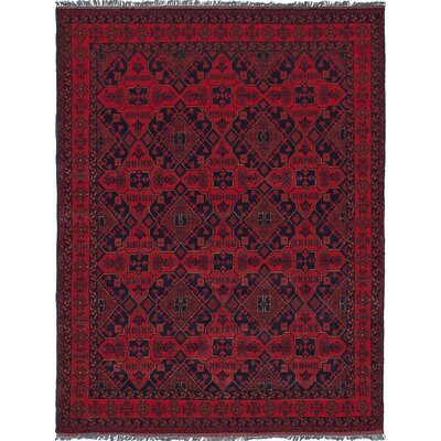 Rosales Hand-Knotted Rectangle Wool Dark Burgundy Area Rug