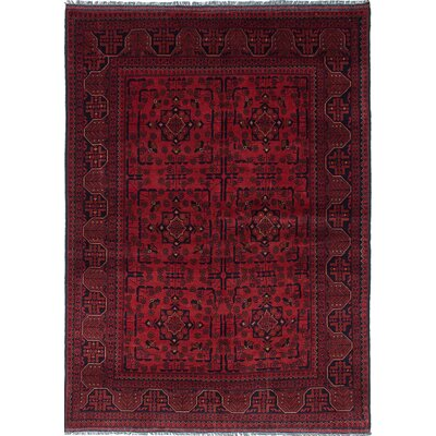 One-of-a-Kind Rosales Hand-Knotted Oriental Wool Dark Burgundy Area Rug