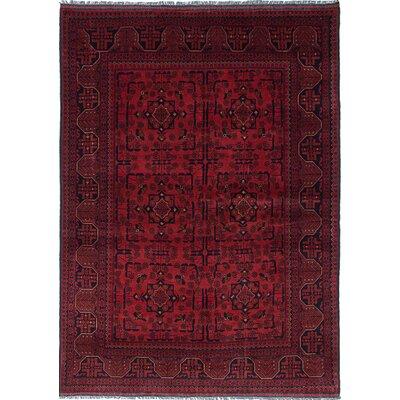 Rosales Hand-Knotted Oriental Wool Dark Burgundy Area Rug