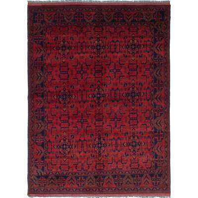 Rosales Hand-Knotted Rectangle Wool Dark Burgundy Indoor Area Rug