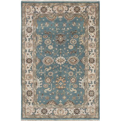 One-of-a-Kind Royal Ushak Wool Hand-Knotted Light Turquoise Area Rug