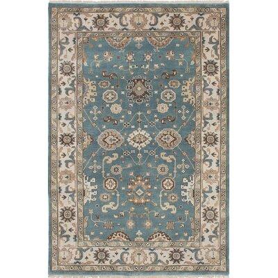 Royal Ushak Wool Hand-Knotted Light Turquoise Area Rug