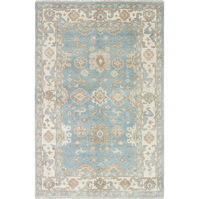 One-of-a-Kind Royal Ushak Wool Hand-Knotted Light Blue/Light Yellow Area Rug