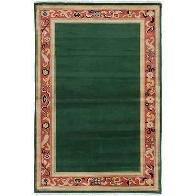 One-of-a-Kind Peshawar Ziegler Wool Hand-Knotted Dark Green Area Rug