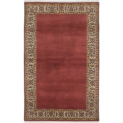 One-of-a-Kind Peshawar Ziegler Wool Hand-Knotted Dark Red Area Rug