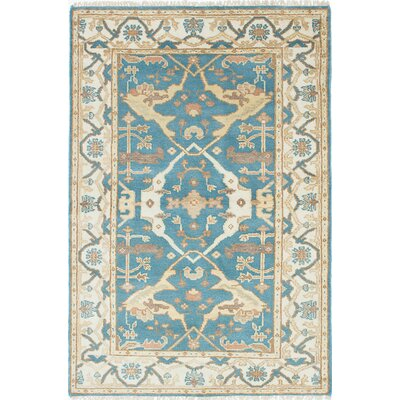 One-of-a-Kind Royal Ushak Wool Hand-Knotted Cream/Dark Turquoise Area Rug