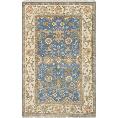 Royal Ushak Wool Hand-Knotted Sky Blue Area Rug