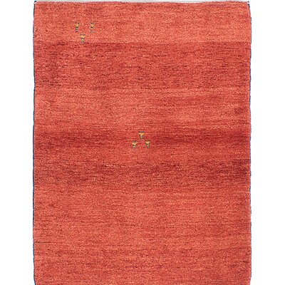 Persian Gabbeh Hand-Knotted Red Area Rug
