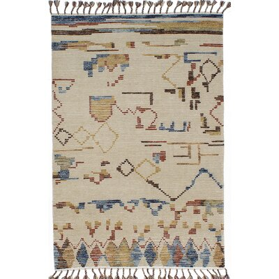 One-of-a-Kind Tangier Hand-Knotted Beige/Blue Area Rug