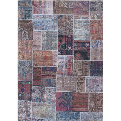 One-of-a-Kind Persian Vogue Patch Hand-Knotted Blue/Brown Area Rug
