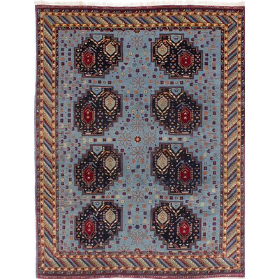 One-of-a-Kind Ghafkazi Hand-Knotted Light Blue/Brown Area Rug