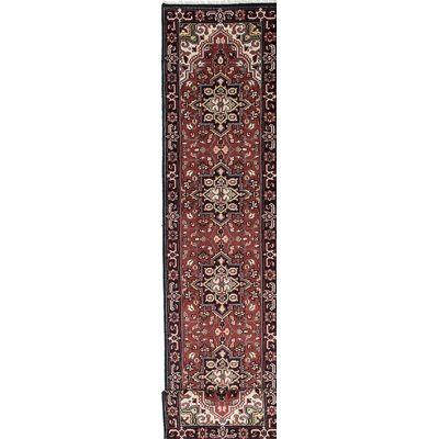 One-of-a-Kind Larsen Hand-Knotted Oriental Red/Black Area Rug