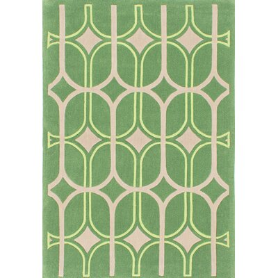 One-of-a-Kind Abstract Art Handmade Green Area Rug