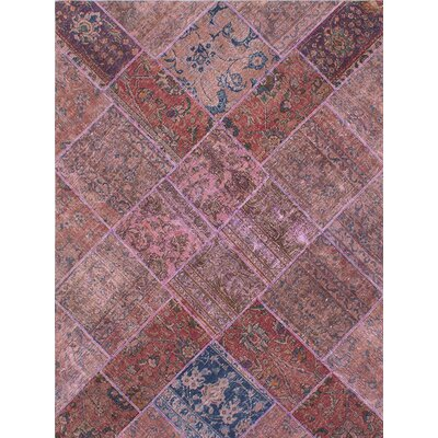 One-of-a-Kind Persian Vogue Patch Hand-Knotted Beige/Pink Area Rug