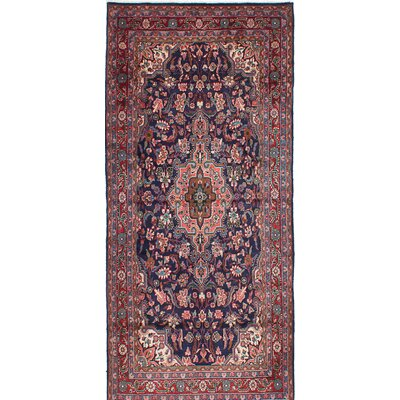 One-of-a-Kind Jouzan Malayer Hand-Knotted Blue/Red Area Rug