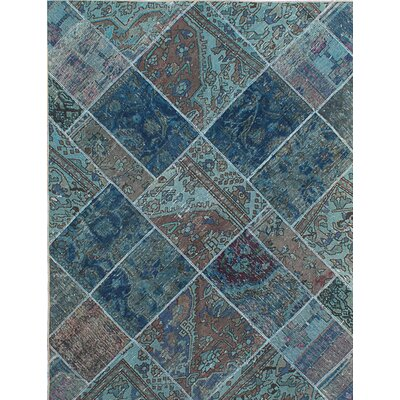 Persian Vogue Patch Hand-Knotted Blue/Brown Area Rug