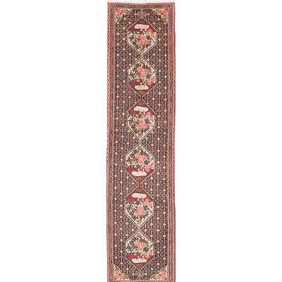 One-of-a-Kind Senneh Hand-Knotted Pink/Green Area Rug