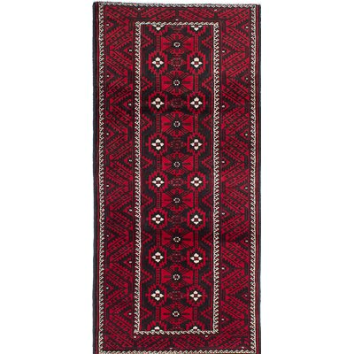 Finest Baluch Hand-Knotted Red/Black Area Rug