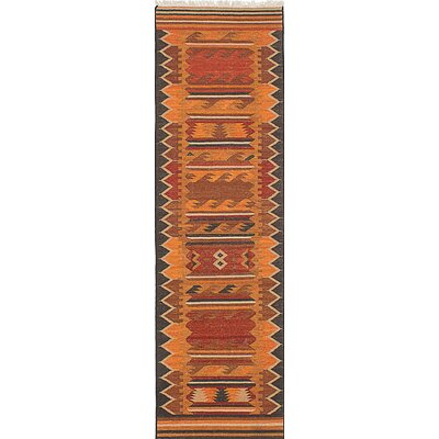 Izmir Kilim Hand-Woven Gray/Orange Area Rug