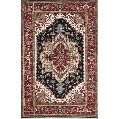 One-of-a-Kind Baldry Hand-Knotted Beige/Red Area Rug