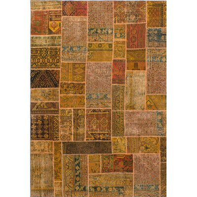 One-of-a-Kind Persian Vogue Patch Hand-Knotted Brown/Beige Area Rug